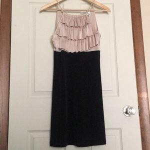 Champagne ruffle and black dress